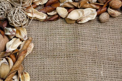 Rustic Country Burlap and More Background Stock Photos