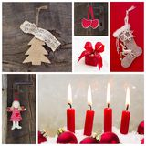 Rustic country decoration for christmas in red and wood with can Stock Image