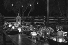 Rustic Country Outdoor Table Celebration with Lights Candles Plants. Black and white nighttime table setting for outdoor party with candles and plants stock photos