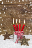 Rustic country style greeting card for christmas with candles Royalty Free Stock Photography