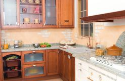Rustic or country style kitchen with oven royalty free stock photography