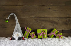 Rustic country style wooden christmas background with gift boxes Stock Image