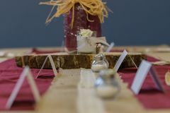 Rustic Wedding Decorations Table Centre stock photography
