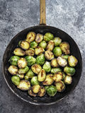 Rustic crispy fried brussels sprouts Royalty Free Stock Photos