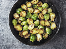 Rustic crispy fried brussels sprouts Royalty Free Stock Images