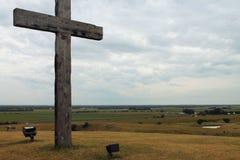 Rustic cross near fields midwest Nebraska stock photography