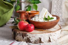 Rustic dairy products still life Stock Photo