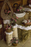 Rustic decor. Miniroses rustic and vintage decoration Stock Photography