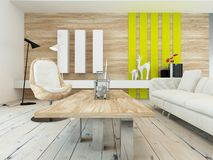 Rustic decor in a modern living room. With a wood wall with yellow accents, contemporary wooden coffee table, white painted floorboards and a comfortable white Stock Photo