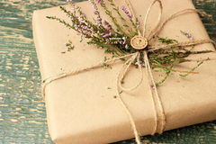 Rustic decor for wrapping of gift boxes Royalty Free Stock Photography