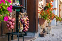 Rustic decoration of the entrance to the bar in a small Italian royalty free stock photography