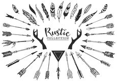 Rustic Decorative Antlers, Arrows And Feathers. Hand Drawn Vintage Vector Design Set. Royalty Free Stock Photo