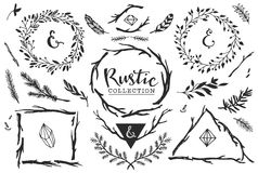 Rustic decorative elements with lettering. Hand drawn vintage. Stock Image