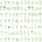 Rustic decorative plants and flowers collection. Romantic background for web pages, wedding invitations, save the date cards. Hand drawn vintage vector design stock illustration