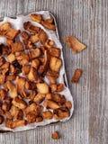 Rustic deep fried crispy pork rind Stock Image