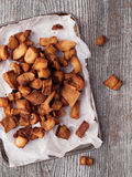 Rustic deep fried crispy pork rind Royalty Free Stock Images
