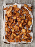 Rustic deep fried crispy pork rind Stock Photo