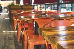 Rustic dining area at Anaheim Packing House stock photos