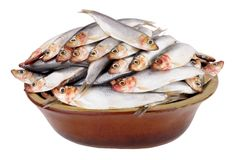 Rustic Dish Filled With Fresh Raw Fish. Sprats isolated on a white background Royalty Free Stock Images