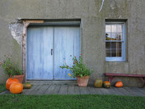 Rustic Doorway With Autumn Decoration Stock Images