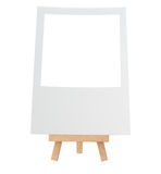 Rustic Easel Style Wooden Tripod Blank Photo isolated on white Stock Image