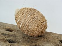 Rustic easter egg. Easter eggs decorated with twine string Stock Photo