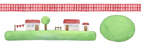 Rustic element set with decorative seamless gingham ribbon, cute little houses on green grass and round watercolor shape to place. Text message. Hand painted vector illustration