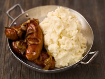 Rustic english pub grub bangers and mash Royalty Free Stock Photography