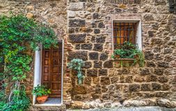 Rustic facade of a house in Tuscany Stock Image
