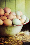 Rustic Farm Raised Eggs. Textured image of an antique wash pan filled with colorful fresh farm raised eggs against a rustic background Stock Photos