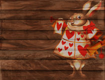 Rustic Fence Border. A digitally created wooden panel background texture with the white rabbit herald from Alice in wonderland. This makes a good design for Stock Image