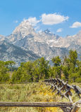 Rustic Fence and Tetons Royalty Free Stock Image