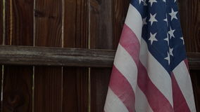 Rustic Fence with USA flag stock video footage