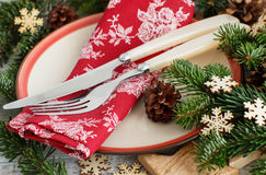 Rustic festive table setting Stock Images