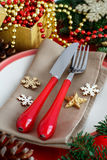 Rustic festive table setting Royalty Free Stock Images