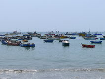 Rustic fishing boats in Ancon Royalty Free Stock Image