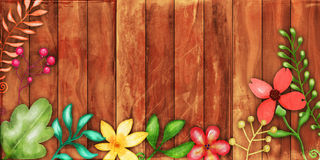 Rustic Floral Fence Border Stock Image