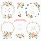 Rustic Floral Wreath Elements. A vector illustration of Rustic Floral Wreath Elements. Perfect for Wedding, Valentine`s day, Thanksgiving, Mother`s Day, greeting Royalty Free Stock Image