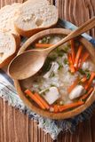 Rustic Food: rice soup in a wooden bowl. vertical top view Stock Photography