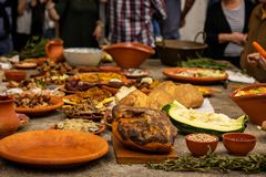Rustic food at a rustic table royalty free stock photos