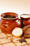 Rustic food, soup in a clay pot Stock Photography