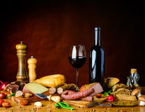 Rustic food on table stock photo
