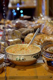 Rustic food. Traditional Romanian food in the Christmas market Stock Photo