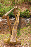 Rustic Footbridge over a mountain stream Royalty Free Stock Image