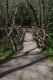 Rustic footbridge over a stream. Stock Images
