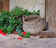 Rustic French Garden patio and wicker basket Royalty Free Stock Photos