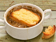 Rustic french onion soup Stock Images