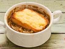 Rustic french onion soup Stock Photos