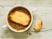 Rustic french onion soup Royalty Free Stock Photo