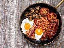 Rustic full english breakfast Royalty Free Stock Photo